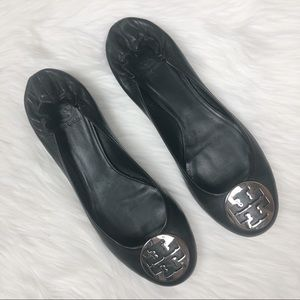 Tory Burch Black Reva Gold Metal Accent Flats 12